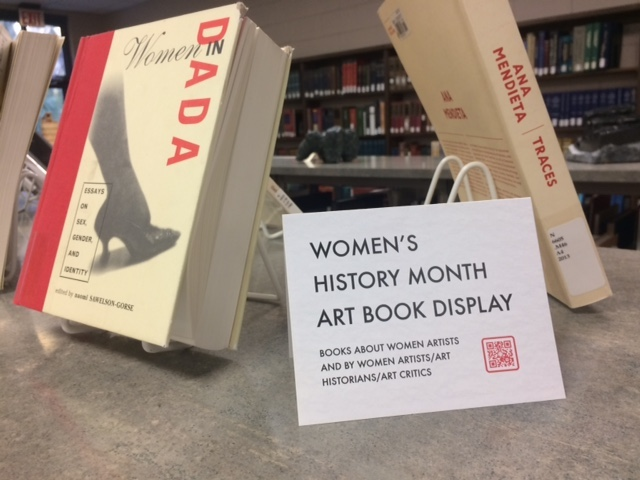 women's history month art book display sign